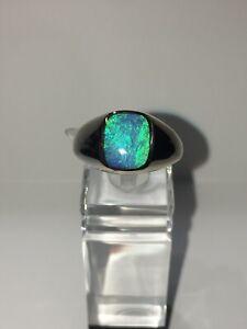 Man Australian Opal Ring 18k White Gold