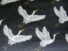 Japanese Crane Birds Fabric Fat Quarter Cotton Craft Quilting Oriental Birds