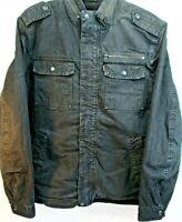 Levi's Men Zip/Button Jacket Black Size L Brass Zipper/Brass Button 100% Cotton