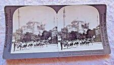 STEREOVIEW PHOTO CONSTANTINOPLE ISTANBUL ST. SOPHIA AYASOFYA DONKEYS TURKEY