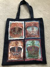 Navy Blue Crown Print Canvas Tote Bag