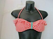 XHILARATION~Red & White Stripe HALTER RUFFLED BIKINI TOP~Women's Medium