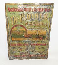 Blechschild Th. Flöther Gassen Jasien Polen Lokomobile Landmaschinen um 1900/10