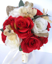 17 piece Wedding Bouquet package Bridal Silk Flowers RED Cream GOLD CHAMPAGNE
