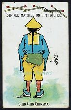 1906 Match Striker Chin Chin Chinaman Liable To Letter Rate Novelty Postcard