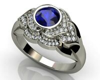 925 Silver Rings Women Jewelry Round Cut Blue Sapphire Wedding Ring Size 6-10