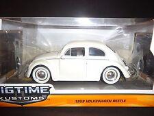Jada Volkswagen Beetle 1959 Matte White with Moon Wheel 1/24
