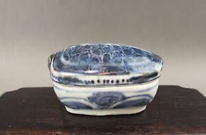 "A very rare/fine Chinese 17C blue&white box/cover ""Turtle""-Wanli"