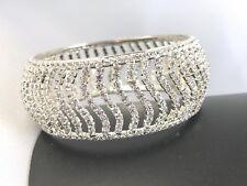 Bracelet Bangle Wide Silver Tone Clear Rhinestone Crystal Wedding Bridal B126
