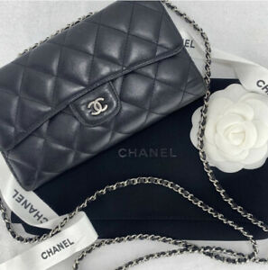 Authentic Chanel Quilted Black Leather Wallet Crossbody Bag On Chain