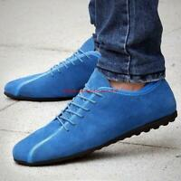 Mens Suede Comfortable Leather driving Shoes Sneakers Casual Lace Up