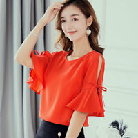 T-Shirt Ladies Fashion Loose Short Sleeve Women Shirt Chiffon Summer Blouse Top