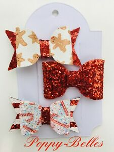 """Handmade set of 3 red glitter Xmas candy cane gingerbread girls 2.5"""" hair clips"""