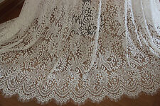 "Eyelash Lace Fabric White Floral Polyester Embroidered Bridal 59"" width 1 yard"