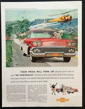 1958 Vintage Print Ad 50's CHEVROLET Chevy Red Car Image Helicopter Art