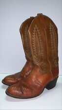 Vintage Dan Post Peanut Exotic Lizard Leather Western Cowboy Boots Men's Sz 8