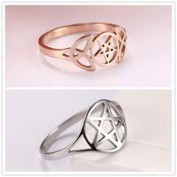 Wicca Pentagram Hollow Star Stainless Steel Silver Gold Elegant Ring Gift Women