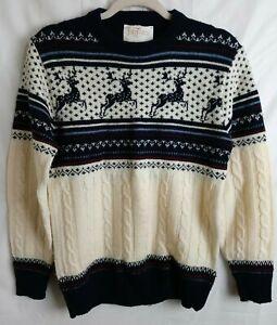 Vintage Jantzen Wool Cable Knit Nordic Sweater Medium Cream Blue Reindeer