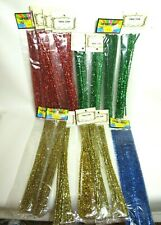 VTG LOT 280+ CHENILLE PIPE CLEANER STEMS TINSEL RED GOLD GREEN BLUE CHRISTMAS