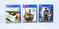 STAR WARS BATTLEFRONT, WITCHER 3 WILD HUNT & UNCHARTED 4 [LOT OF 3] PS4