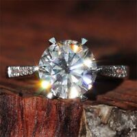 2.55 Ct Near White Moissanite Round Cut Engagement Wedding Ring 9K White Gold