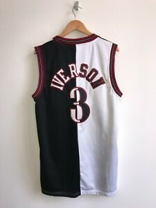 Vintage Reebok Iverson Sixers NBA Jersey Black and White Half Jersey