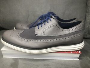 Cole Haan Grand OS Men's Gray Leather Wingtip Oxford Shoes Size 10M