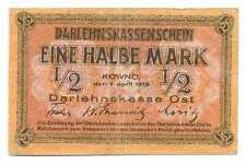 Germany WWI Occupation of Lithuania 1/2 Mark 1918 F/VF #464