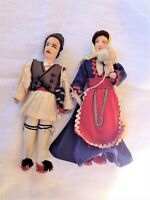 SET OF 2 VINTAGE HANDCRAFTED GREEK DOLLS IN TRADITIONAL COSTUMES, LEATHER SHOES