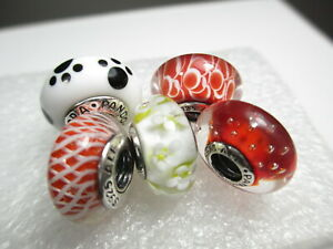 5 Pandora Silver 925 Ale Murano Bead Charm Red Effervescence White Daisy Pet Paw