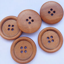 30pcs 30mm Round Brown Wood Buttons 4 Holes Craft Sewing Button