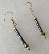 Vintage Gold Plated Long Gray Hematite Stone Mirrored Crystal Dangle Earrings