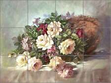 Ceramic Tile Mural Backsplash Taite Roses Flowers Floral Art POV-FPT002