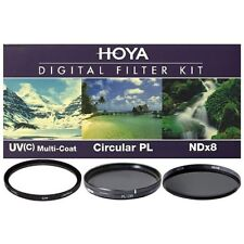 Hoya 62mm UV HMC + Cicular Polarizer CPL + NDx8 3-piece Filter Kit - Brand New