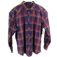 INC International Concepts Mens Deep Grape Plaid Long Sleeve Button Up Shirt 2XL