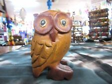 Hand Carved Solid Timber Wooden Wise Owl Decorative Ornament Statue 11cm Tall