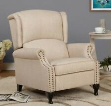 Beige Wingback Accent Recliner Chair Recliners Armchairs Tan Arm Chairs Nailhead