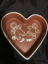 Stoneware Gingerbread Man Heart Shaped Baking Dish Casserole Christmas Enesco