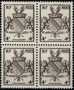 France 1945 STRASBOURG Armoiries de villes Bloc de 4  n° 735 neuf ★★ Luxe / MNH