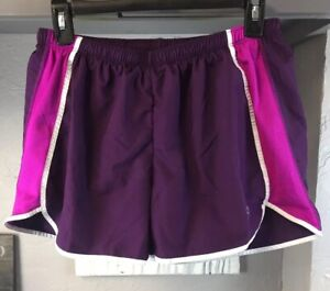 Champion Athletic Shorts Built In Panty Interior Pocket Purple Pink Size M