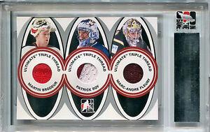2005-06 ITG Ultimate Memorabilia MARTIN BRODEUR PATRICK ROY Triple Patch SP #/25