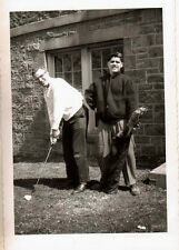 Antique Vintage Photograph Two Young Men Playing Golf