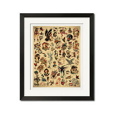 Sailor Jerry x Ed Hardy Old School Vintage Tattoo Flash #1 Poster Print