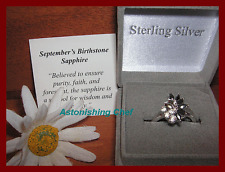 AVON STERLING SILVER SAPPHIRE RING & GIFT BOX SZ 7