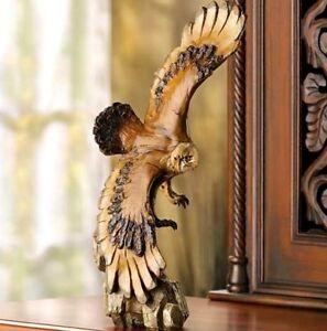Soaring Bald Eagle Statue Bird Display Sculpture Mantel Figure Faux Carved Wood
