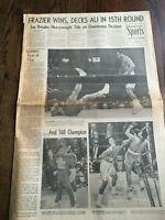 1971 Joe Frazier beats Muhammad Ali for Boxing Title  LA Times Newspaper