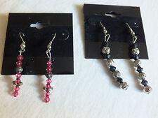 Collectible Black Pink Swavorski Crystal French Hoop Earrings 2 Pair NICE