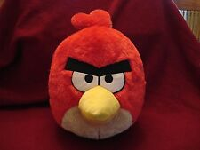 "ANGRY BIRDS Red ROUND Plush FURRY Backpack 8""Deep BAG Back Pack Kid's 14"""