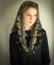 Evintage Veils~  Our Lady/Guadalupe Gold & Black Infinity Chapel Veil Mantilla