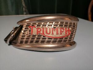 vintage Triumph motorcycle tank badge double buckle belt